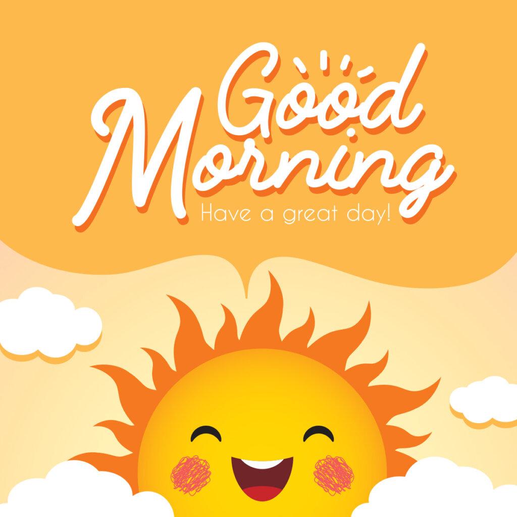 Картинка с текстом доброе утро на английском языке на жёлтом фоне с улыбающимся солнцем в облаках.