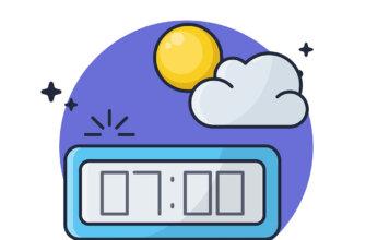 Картинка с текстом с добрым утром с часами, показывающими время 7.00 на прямоугольном электронном циферблате.