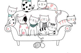 Картинка с текстом доброе утро друзья: мультипликационные коты на диване на белом фоне.