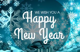 Картинка поздравление на английском языке с новым годом на зимнем голубом фоне со снежинками и коробками подарков.