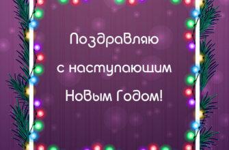 Пурпурная открытка с еловыми ветками и гирляндой с текстом.