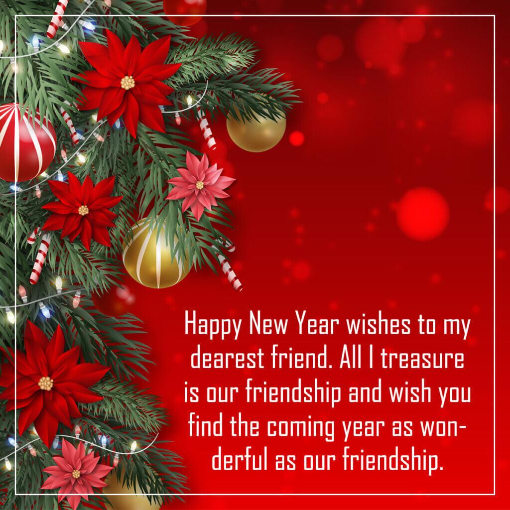 Картинка с текстом поздравления с новым годом на английском языке на красном фоне с цветами, ветками ели и рождественскими украшениями.