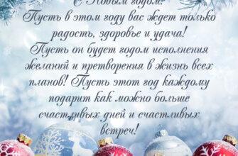 Официальное поздравление с новым годом в прозе с ёлочными шарами в снегу.