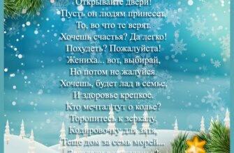 Картинка с текстом в стихах на фоне неба со снежинками и еловых веток.