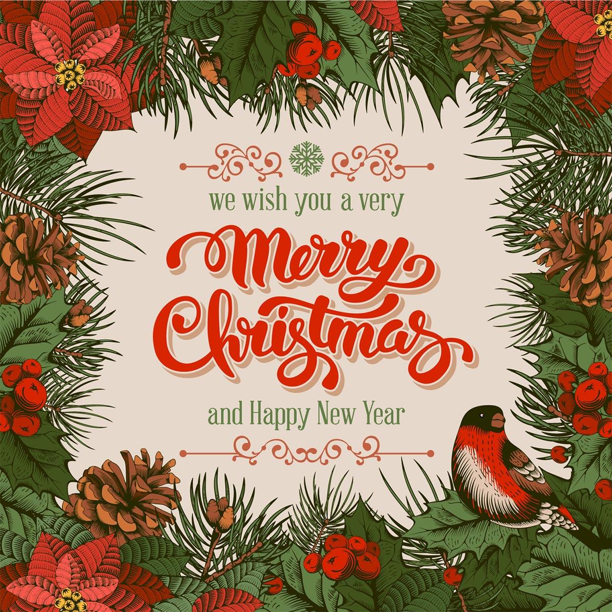 Картинка с текстом - ретро открытка с новым годом на английском языке с сосновыми ветками и шишками, красными цветами и снегирём.
