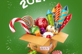 Коробка с карамелью, новогодними шарами и фейерверками на зелёном фоне.
