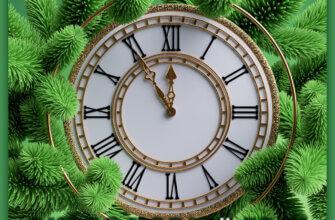 Настенные часы на фоне еловых веток.