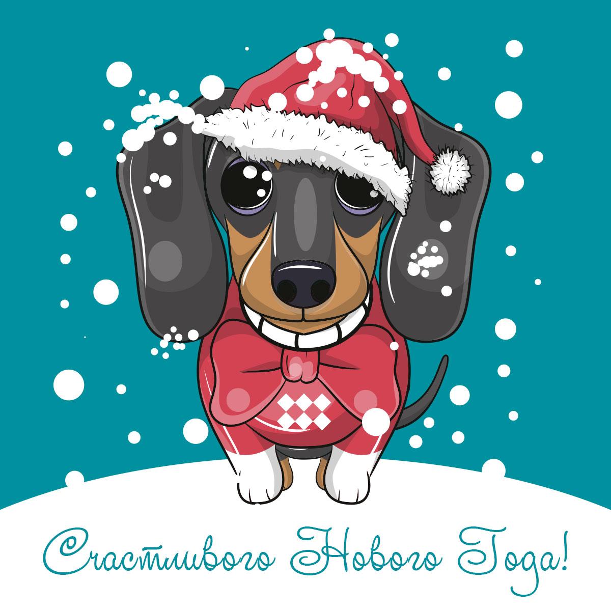 Картинка с текстом: открытка счастливого нового года с таксой в шапке Санта Клауса и галстуке - бабочке на зимнем фоне.