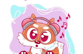 Картинка со словом приветик на розовом фоне с мультипликационной лисой в наушниках от плеера.