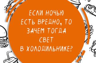 Картинка с текстом смешной цитаты про еду внутри оранжевого круга на фоне чёрно - белых рисунков с продуктами питания и напитков.