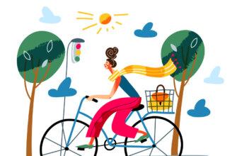 Картинка с надписью с добрым утром: рисунок девушки на двухколесном дорожном велосипеде с сумкой в багажнике.