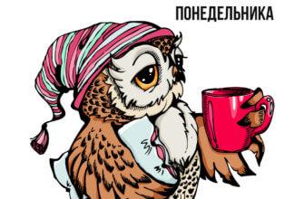 Картинка с текстом доброе утро понедельника: сова в ночном колпаке с кружкой и подушкой.