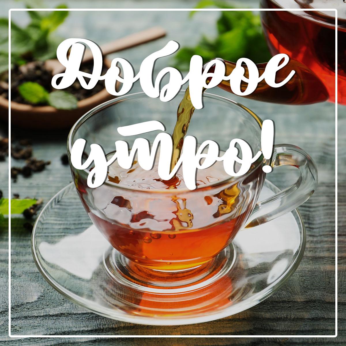 Фото с текстом доброе утро и чай янтарного цвета в прозрачной чашке на блюдечке.