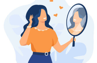 Картинка с текстом с новым утром с новым днем: девушка - брюнетка в оранжевой блузке и синей юбке с поясом поправляет волосы перед зеркалом.