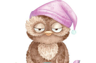 Прикольная картинка с текстом доброе утро: сова в пурпурной шляпе для сна, одном тапочке с кружкой кофе.