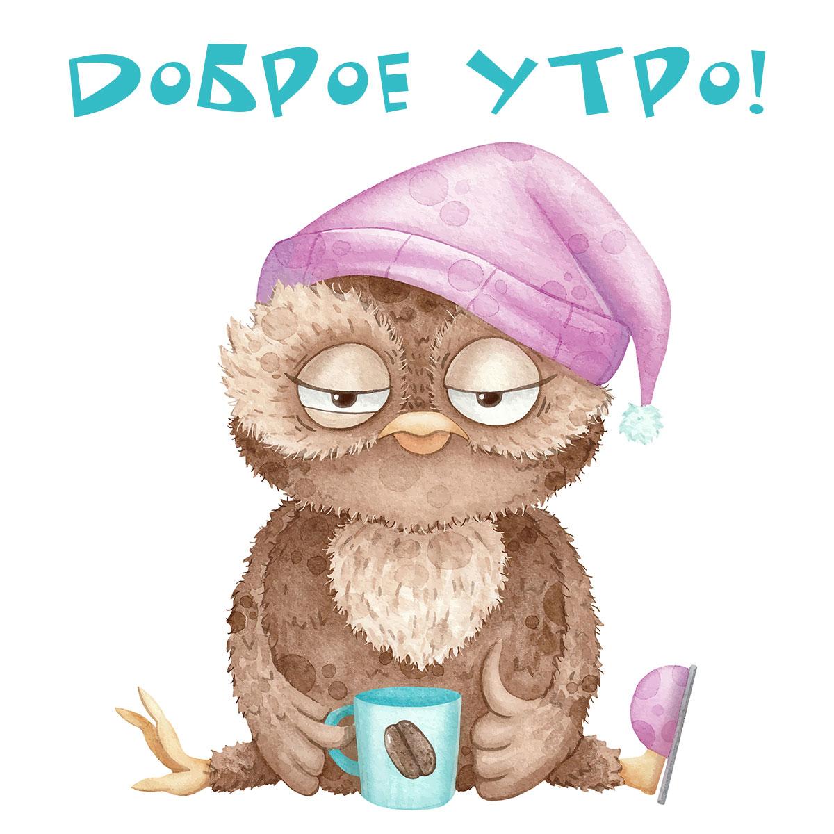 Сова в пурпурной шляпе для сна, одном тапочке с кружкой кофе.