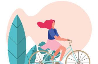 Картинка с текстом доброе утро: девушка с красными волосами едет на двухколёсном велосипеде.
