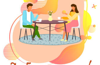Картинка с надписью доброе утро: романтическая беседа мужчины и женщины, сидящих за круглым столом с чайными чашками.