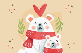 Картинка с текстом с новым годом - детский рисунок с медведями в красных шарфах.