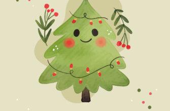 Картинка новогодняя елка с гирляндой на нежно зелёном фоне.