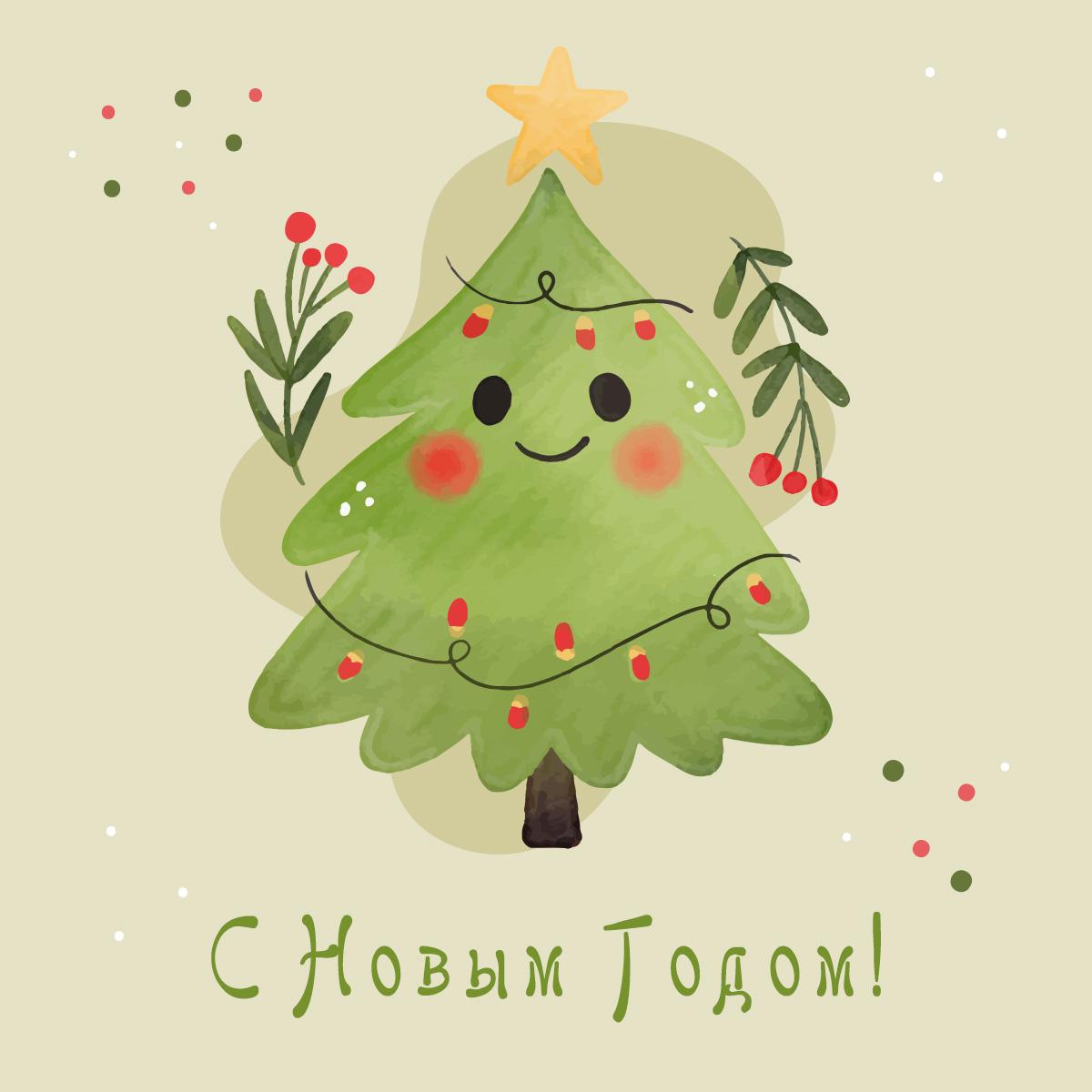 Акварельная новогодняя елка с гирляндой на нежно-зелёном фоне.