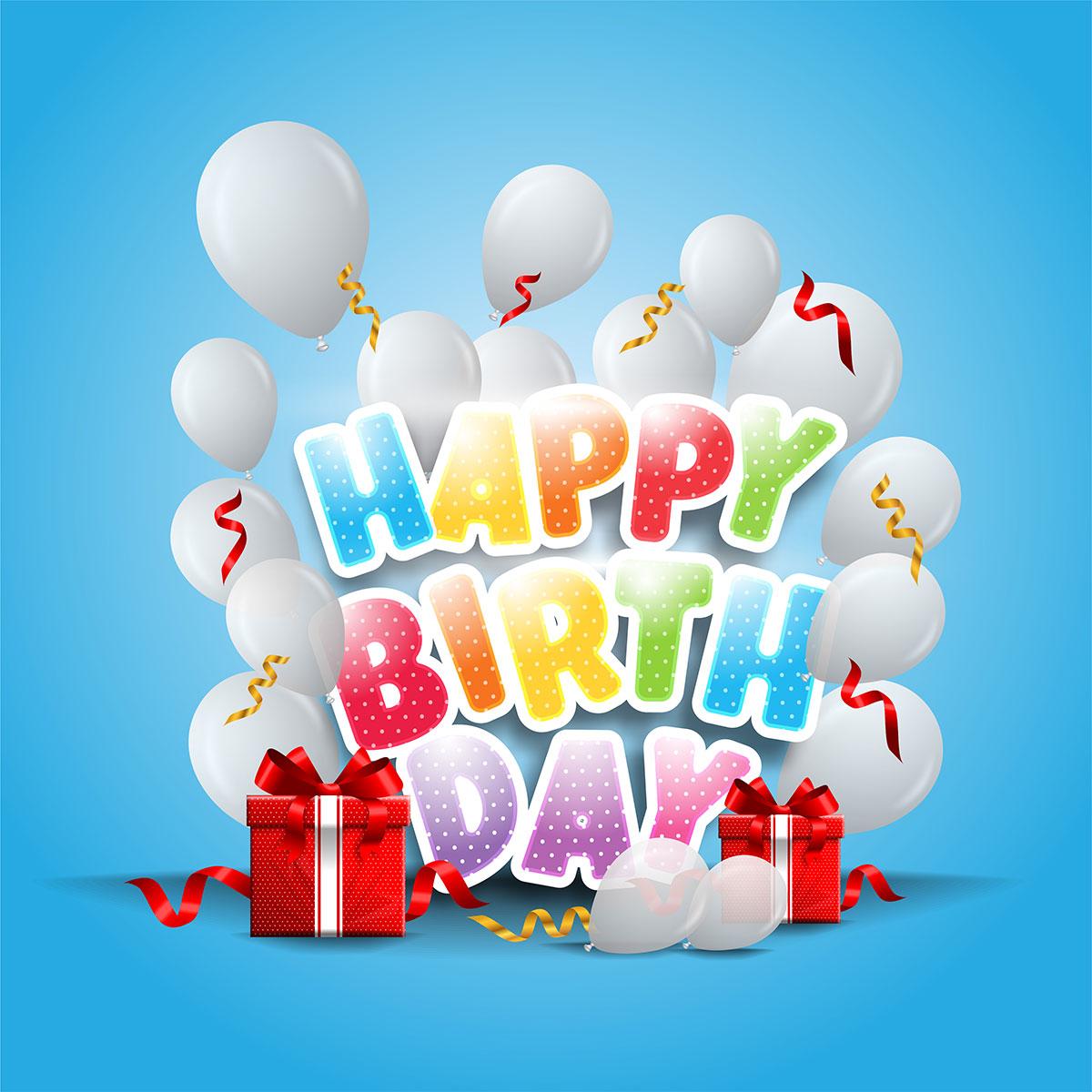 Голубая открытка с белыми воздушными шарами и текстом с днем рождения на английском языке.