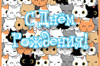 Картинка с множеством кошачьих мордочек и надписью с днем рождения.