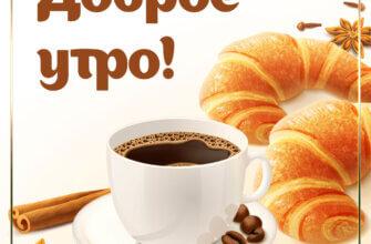 Картинка вкусное утро с белой керамической чашкой н блюдце с чёрным кофе, круассанами и приправами.