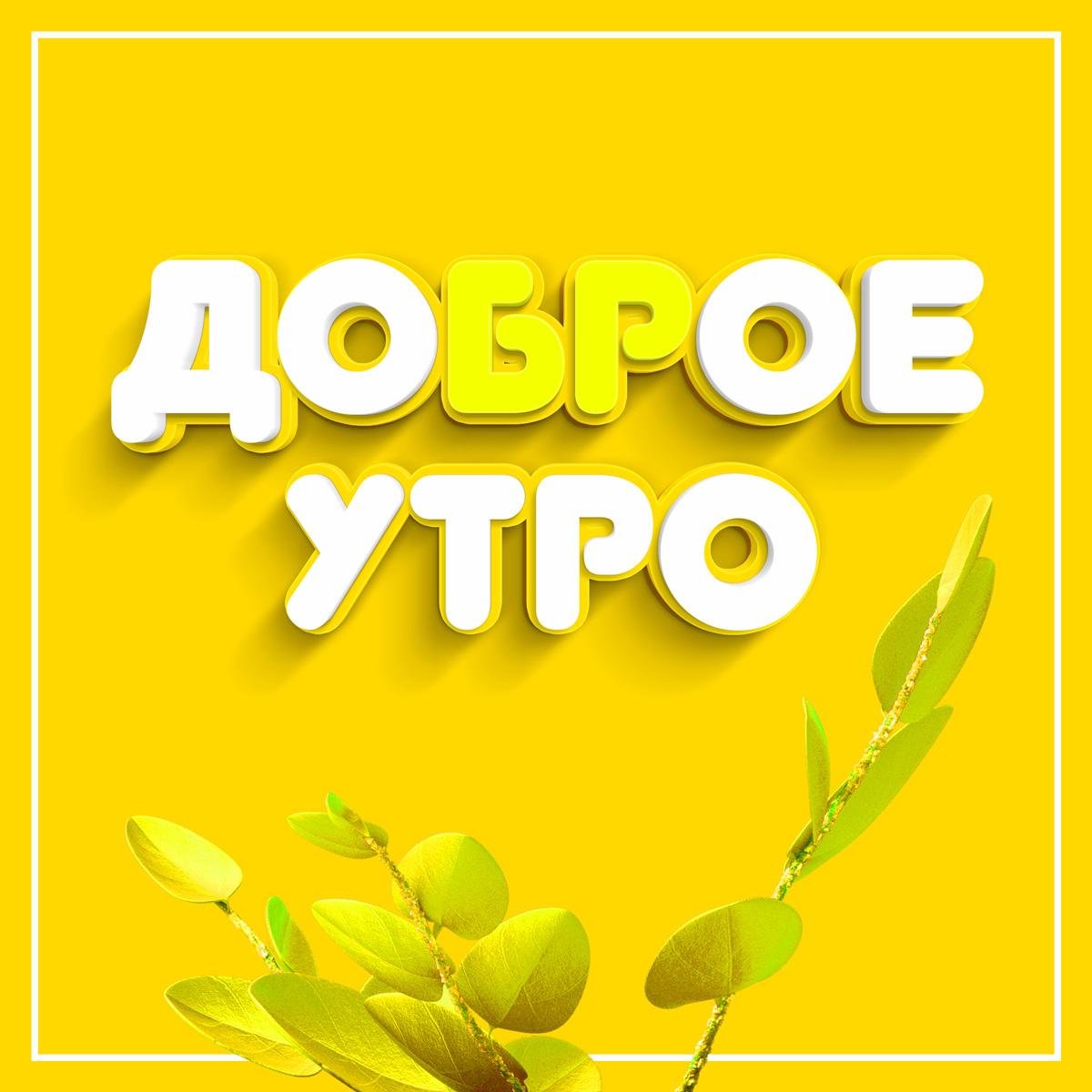 Жёлтая картинка с надписью доброе утро с веткой растения.