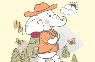 Картинка с надписью доброе утро слоник в оранжевой шляпе и куртке путешествует с рюкзаком на фоне гор с деревьями.