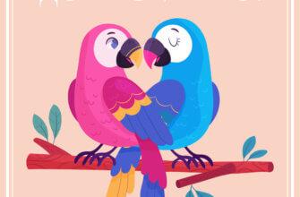 Картинка с надписью доброе утро: птички на персиковом квадратном фоне.