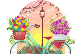 Картинка женщине с надписью доброе утро с рисунком зелёного велосипеда с корзиной тюльпанов и букетом бордовых цветов на багажнике.