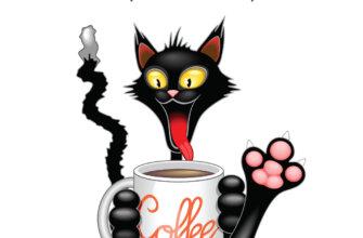 Картинка с добрым утром со смешным чёрным котом, разинувшим пасть с красным языком с кофейной кружкой в лапах.