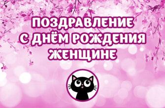 Розовая картинка с текстом поздравление с днём рождения женщине с рисунком кота в круге