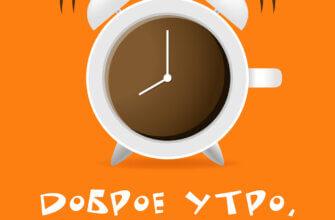 Оранжевая картинка с текстом доброе утро четверг с круглым будильников в виде чашки кофе.