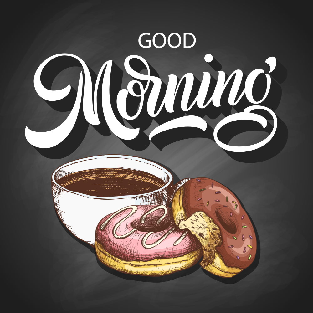 Картинка с добрым утром на английском языке с чашкой кофе и пончиками.