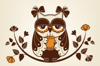 Картинка с текстом доброе утро хорошего понедельника и рисунком коричневой совы на ветке с листьями.