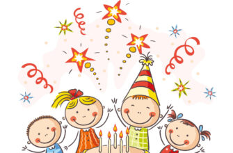 Розовая картинка с днем рождения ребенку с детьми вокруг торта.