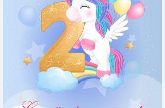 Голубая открытка на день рождения ребенка 2 года с рисунком единорога с воздушными шарами.