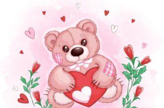 Детская картинка с днем рождения девочке игрушечный медведь с розовым сердцем и цветами.
