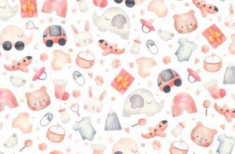Детский фон для фотошопа с розовыми рисунками игрушек и зверей.
