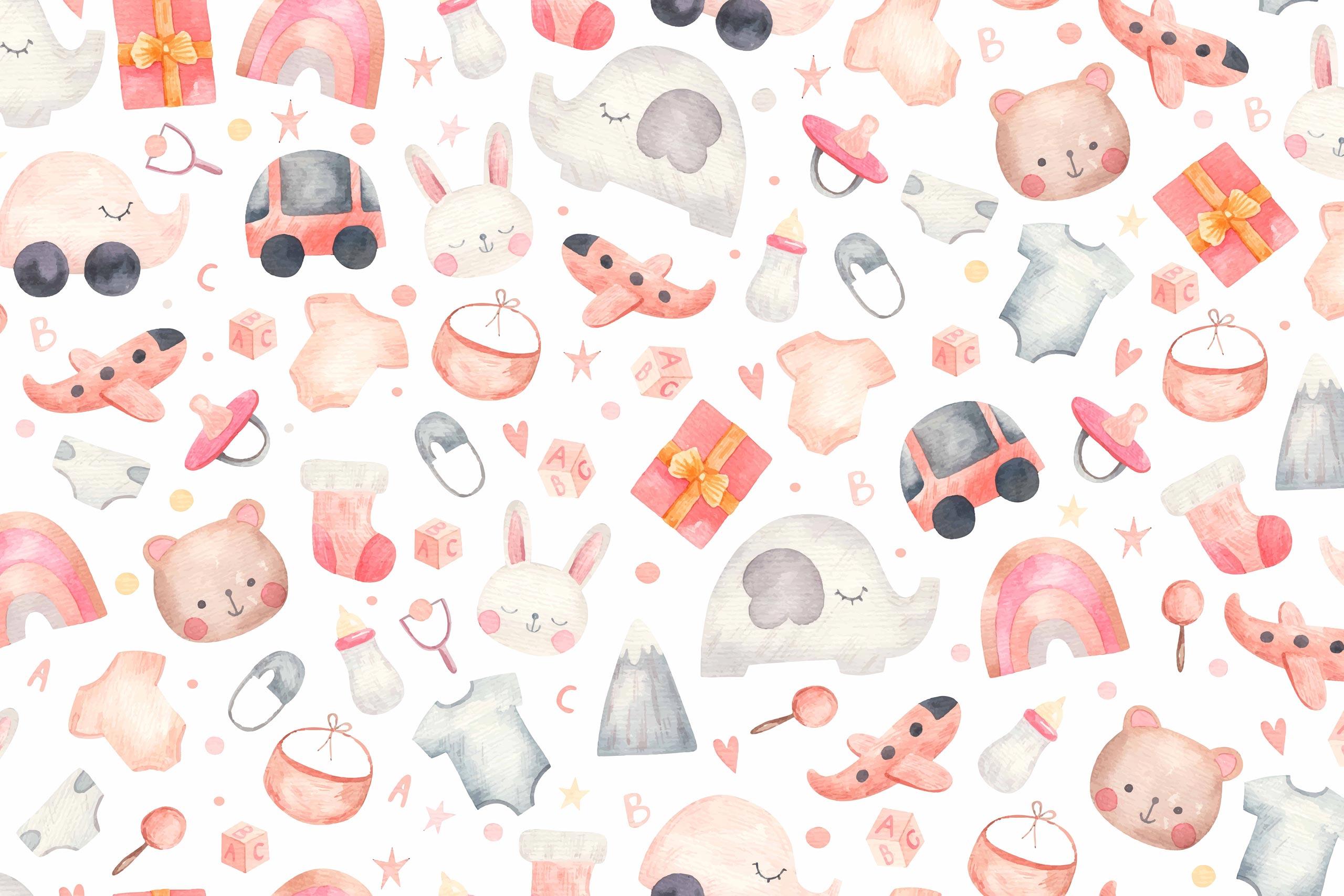 Детский фон с розовыми рисунками игрушек и зверей.