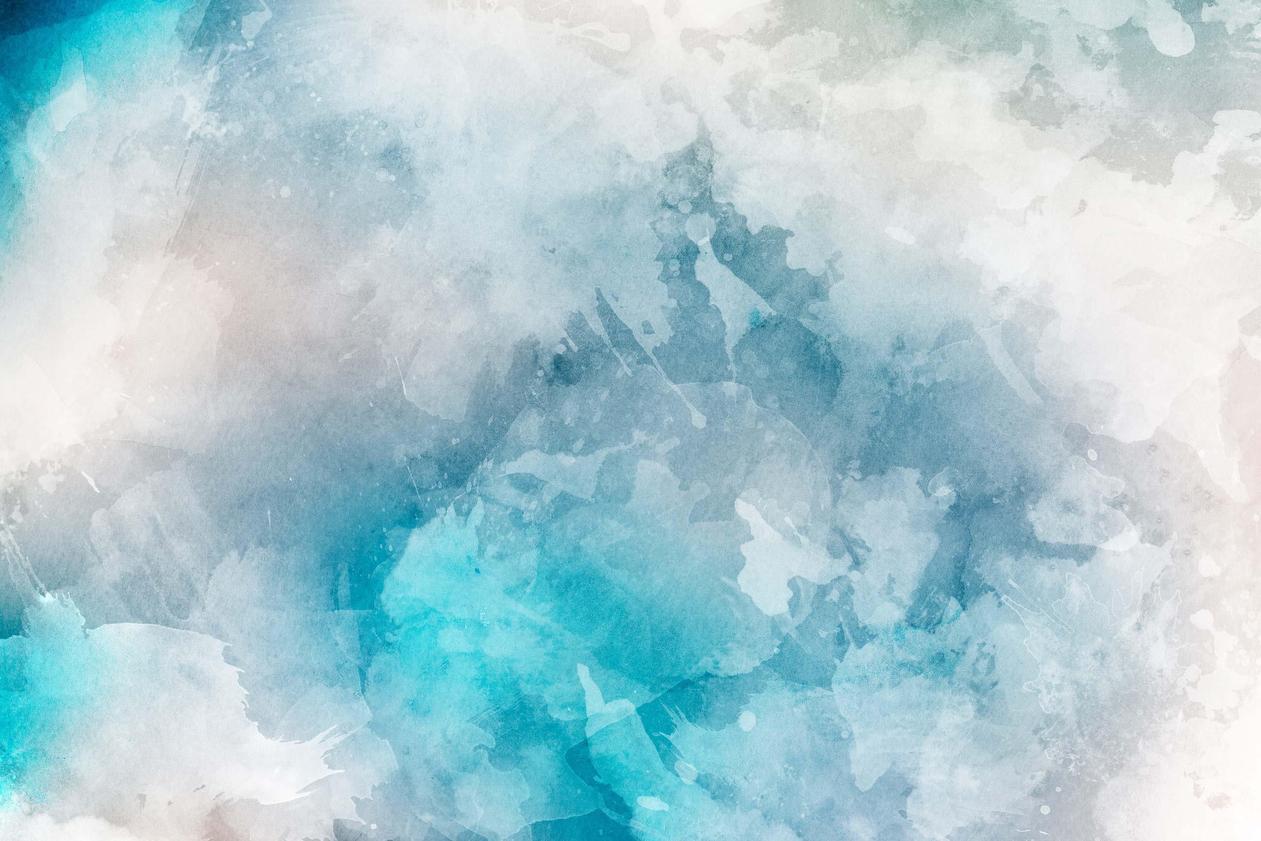 Голубая акварель с белыми разводами.