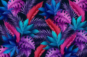 Фон для фотошопа тропические листья пурпурного и розового цвета.