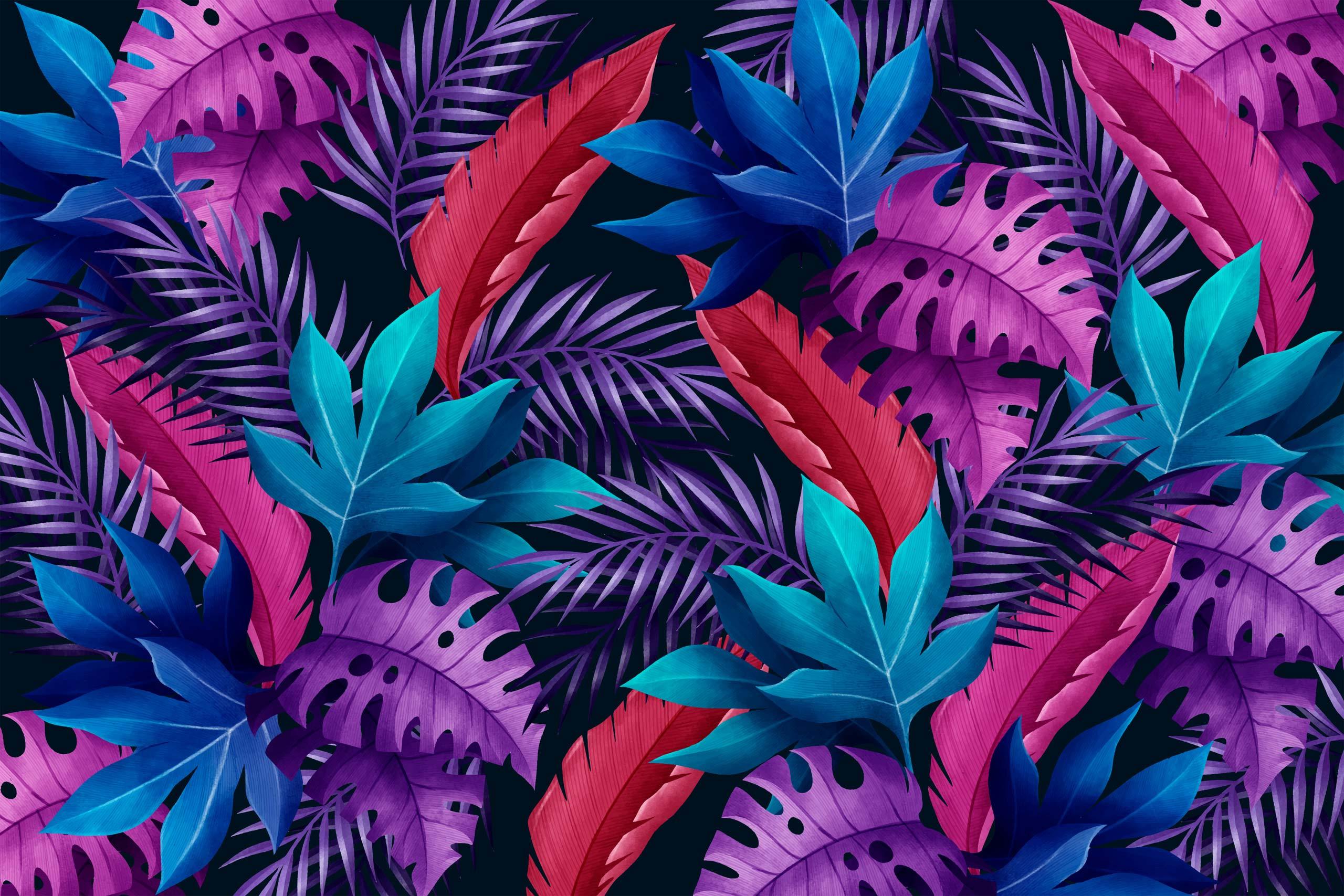Фиолетовые и синие тропические листья.