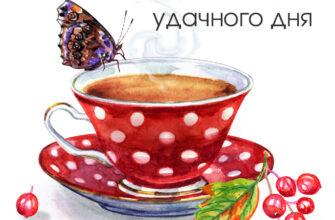 Картинка доброе утро удачного дня с чайной чашкой на блюдце и бабочкой.