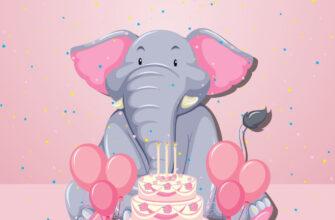 Красивая детская открытка с днём рождения слон с тортом и воздушными шарами на розовом фоне.