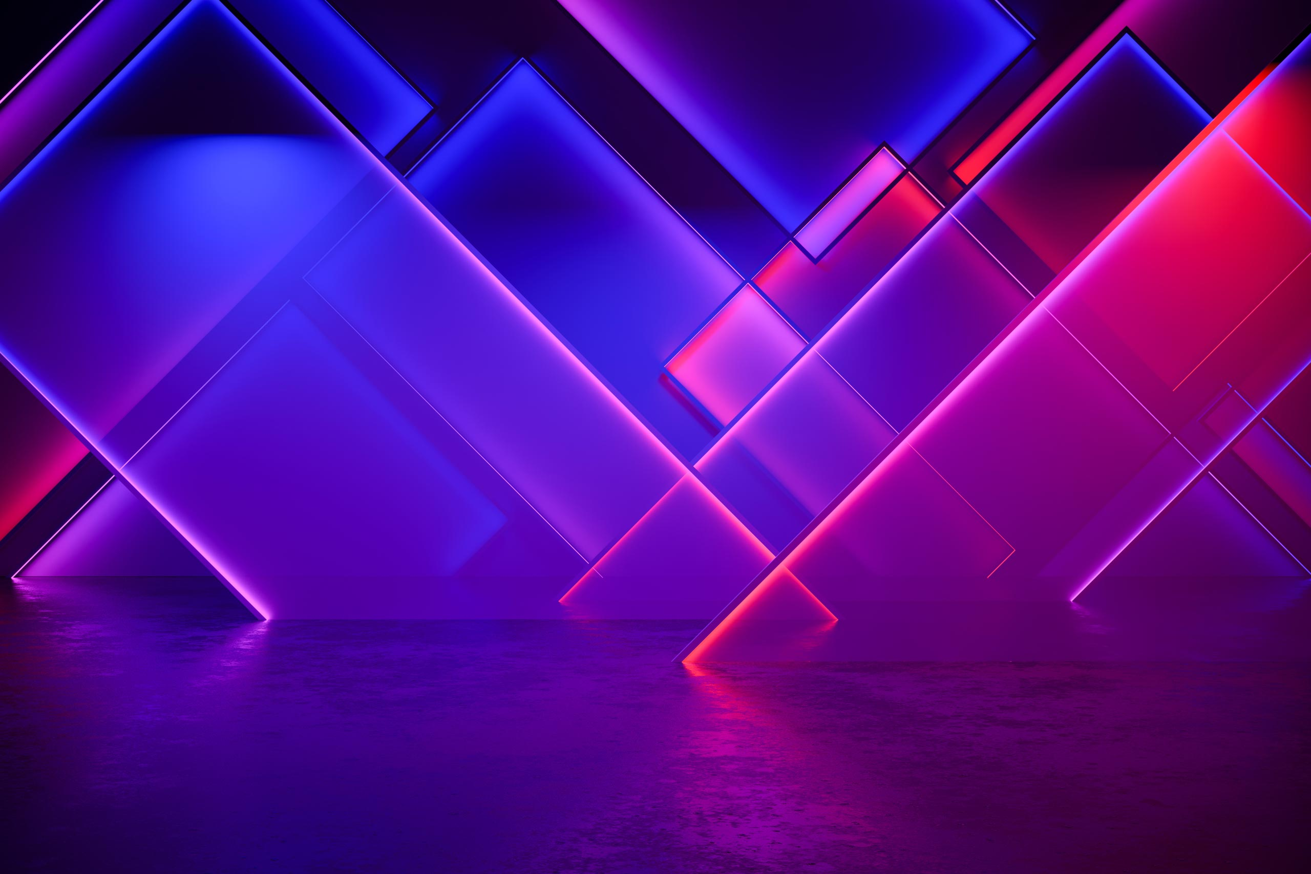 Неоновые геометрические фигуры синего и розового цвета.
