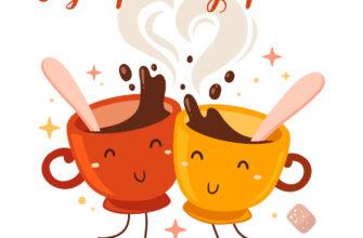 Нарисованная картинка с надписью с добрым утром две улыбающиеся чашки кофе.