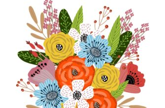 Графическая открытка с днём рождения женщине букет ярких цветов.